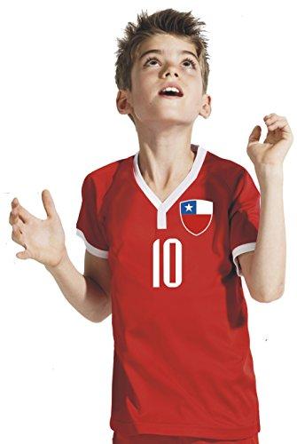 Aprom-Sports Chile Kinder Trikot - Hose Stutzen inkl. Druck Wunschname + Nr. RBW WM 2018 (128)