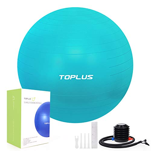 TOPLUS Gymnastikball, unterstützt 900 kg, Yoga-Ball, platzsicher, extra dick, Schweizer Ball mit schneller Pumpe, Geburtsball für Yoga, Pilates, Fitness, Schwangerschaft und Arbeit, Grün-65 cm