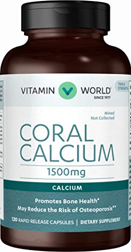 Vitamin World Coral Calcium 1500 mg. 120 Capsules, Mineral Supplement, Rapid-Release, Gluten Free