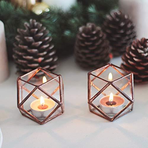 Copper Tea Light Holder Geo Wedding Tableware Home Metallic Candle Holder Decor