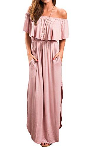MAGIMODAC Damen Off Shoulder Bandeau Langes Kleid Sommer Party Hippie Boho Kleider Abendkleid Maxikleid Cocktailkleid Freizeitkleid mit Schlitz (EU 34-36, Pink)