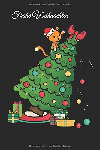 Katze Weihnachtsbaum Notizbuch: Notizbuch mit lustiger Katze & Tannenbaum - Lustiges Liniertes Kätzchen Notizheft - 120 linierte Seiten für Termine ... DINA5 | Witziges Geschenk für Katzenbesitzer