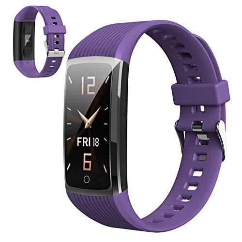 Smartwatch,Fitness Armbanduhr Mit Blutdruck Messgeräte,Pulsoximeter,Pulsuhren Fitness Uhr Wasserdicht IP67 Fitness Tracker Schrittzähler Uhr Für Damen Herren Smart Watch Für Ios Android Handy,Lila