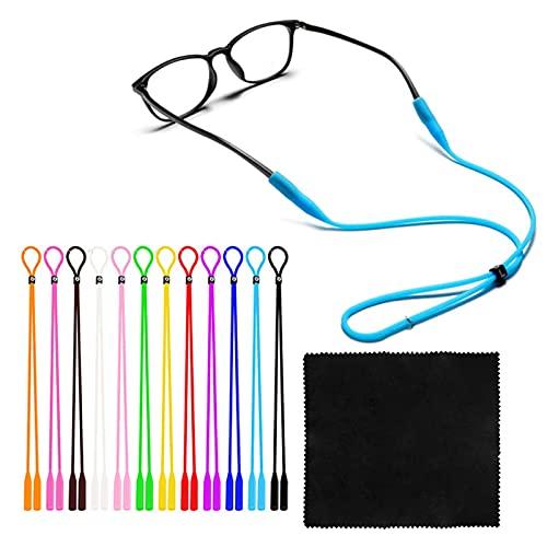Zeaye correa para gafas correa para reloj soporte para gafas, con paño de limpieza para gafas, correa ajustable de silicona para gafas de sol, diadema para gafas (12 piezas)