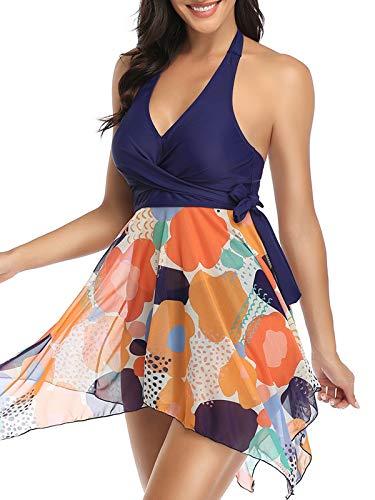 FLYILY Damen Mesh Patchwork Print Gepolsterter Bademode Mode Neckholder Geteilter Badeanzug Unregelmäßiger Saum Tankini Beachwear