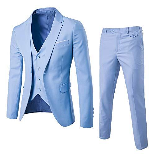 Yanlian Herren Anzug Slim Fit 3 Teilig mit Weste Sakko Anzughose Business Smoking von Harrms Hellblau S