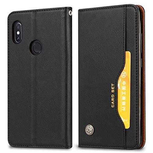 Caso de la cubierta protectora del teléfono móvil Funda de cuero con textura horizontal for Xiaomi Redmi Note 6 Pro, con marco de fotos, soporte y ranuras for tarjetas y billetera ( Color : Black )