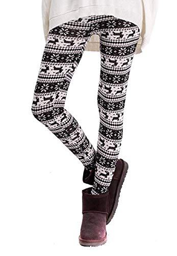 Leggings voor dames - warm - fantasie - zwart en wit - kerstmis - cadeau-idee