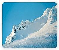 マウントフードマウスパッド、カスケードレンジスキーリゾートエリアアルパイン、長方形の滑り止めラバーマウスパッド、標準サイズ、スカイブルーホワイト