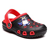 JUXI Toddler Sandals Baby Boys Girls Cute Cartoon Clogs & Mules Kids Slippers (Black Red, Numeric_10)