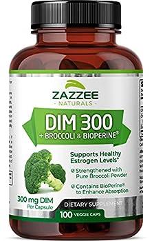 Zazzee DIM 300 mg 100 Vegan Capsules Plus 10 mg BioPerine 100 Day Supply Plus Pure Organic Broccoli Extract Vegan and Non-GMO 300 mg of DIM per Capsule