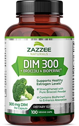 Zazzee DIM 300 mg, 100 Vegan Capsules, Plus 10 mg BioPerine, 100 Day Supply, Plus Pure Organic Broccoli Extract, Vegan and Non-GMO, 300 mg of DIM per Capsule