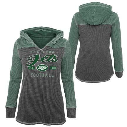 A-Team Apparel New York Jets - Camiseta térmica de manga larga con capucha para niña (verde, talla extra grande 16)