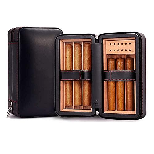 ZHAOHGJ Coque humidificateur de cigares, boîte Humide en Cuir, Bois de cèdre, Portable, avec humidificateur et hygromètre, Plateau cèdon Amovible (Noir), Ajustement 6 cigares