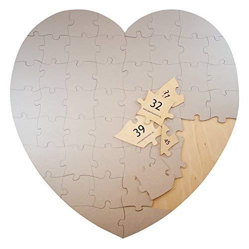 Geschenke 24 Holz Puzzle Herz in Silber - kreative Hochzeitsgeschenke selber gestalten - ausgefallenes Hochzeitsspiel für Brautpaare – Gästebuch Alternative zur Hochzeit