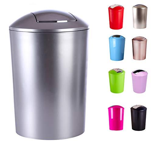 Yavso Cubo de Basura Tapa oscilante, Cubo de Basura de plástico con Tapa basculante de 10 L, Papelera de Oficina/Cuarto de baño/Cocina, 32 x 23 x 23 cm