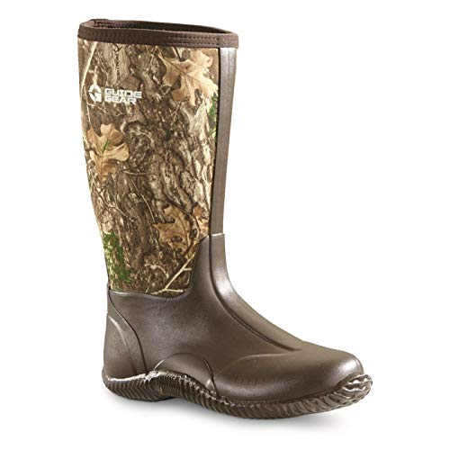 "Guide Gear Women's High Bogger Waterproof Rubber Hunting Work Rain Boots 16"", 5mm Neoprene Top, Realtree Edge, 9B (Medium)"