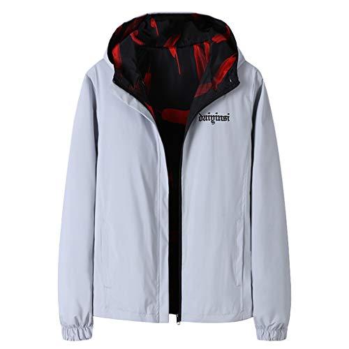 Qinhanjia Herren Herbst Winter Casual Print doppelseitige Wear Jacke Mantel, doppelseitige Kapuze Bomberjacke Baseball Uniform Jacke...