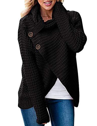 Unibaby Vrouwen Coltrui Chunky Kabel Knit Wrap Pullover Outwear Losse Knop Effen Sweatshirt Tops(S-XXL)