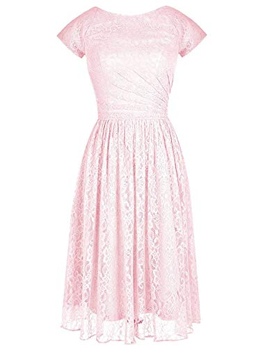Modern Short Bridesmaid Dress lace Ball Evening Dress Cover Sleeve,2,Pink