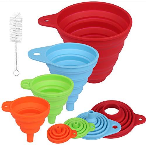 SORICO Silikon Trichter Satz faltbar mit Reinigungsbürste, 4 Stück für Küche Haushalt Flüssigkeiten Öl Pulver, Zusammenklappbar, Lebensmittelecht