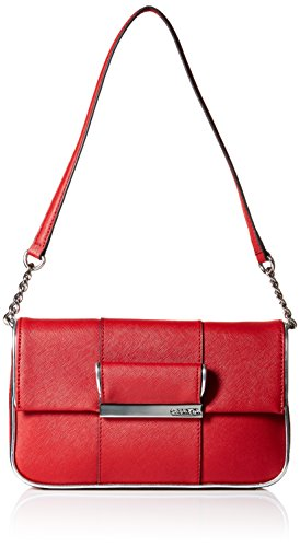Saffiano Leather Demi. Magnetic Closure; Chain detail on the strap; 1 outside slip pocket; 2 inside zip pockets.