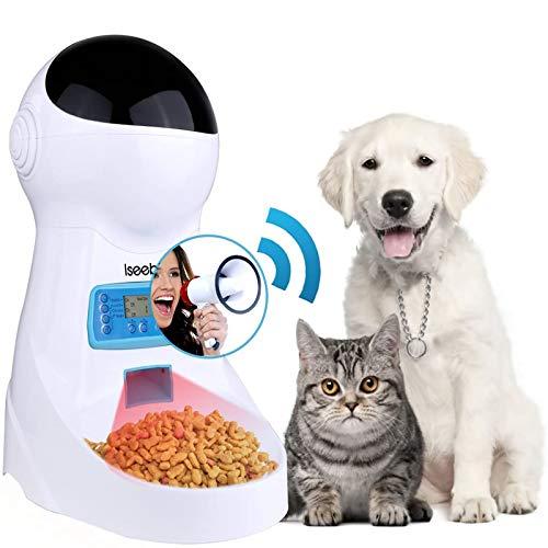 Iseebiz Comedero Automtico Gatos Perros Dispensador Comida para Mascotas con Recordatorio por Voz y Temporizador Programable, Pantalla LCD,3 Litro