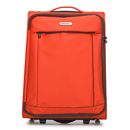 WITTCHEN Koffer – Handgepäck | Textil, Material: Polyester | hochwertiger und Stabiler | Orange/Schwarz | 33 L | 54x36x20 cm