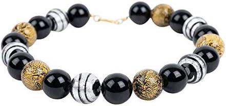 Collar de ónix negro de cristal de Murano con cadena de diseño, collar Aubrey, plata chapada en oro, piedras preciosas, hecho a mano