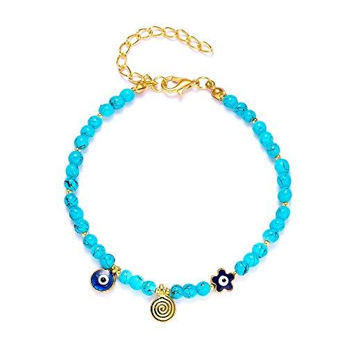 CHIY-GBC Pulsera turca de Ojo Malvado para Mujer, joyería de la Suerte Hecha a Mano, Ojos Azules, Pulsera de Moda para Mujer, joyería de la Amistad, 20 Cm