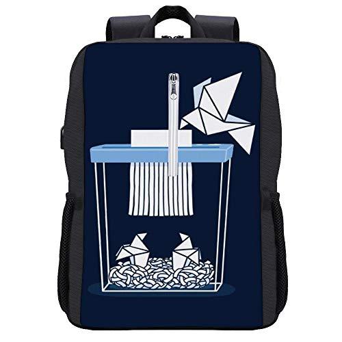 Paper Mom Origami Rucksack Daypack Bookbag Laptop Schultasche mit USB-Ladeanschluss