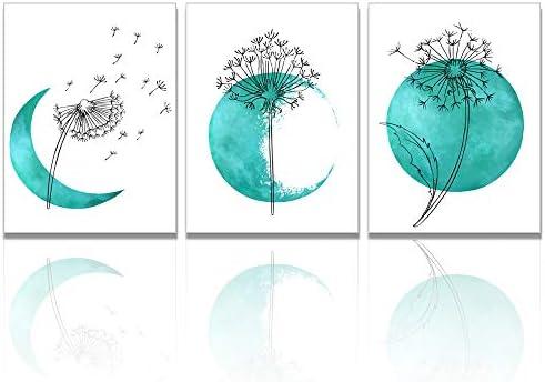 Visual Art Decor Minimalism Flower Picture Giclee Prints Dandelion Line Art Teal Moon Canvas product image