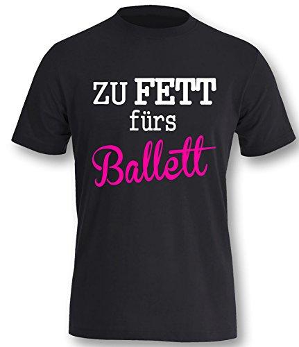 Luckja Zu Fett fürs Ballett Herren T-Shirt Schwarz-Weiss/Neonpink Grösse L