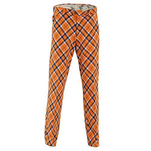 Royal & Awesome Tangerine Tartan Bright Mens Golf Trousers - 30W / 30L