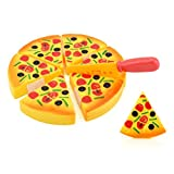 REYO Pretend Play Food Childrens Kids Pizza Slices Toppings Pretend Dinner Kitchen Play Food Toy Gift (Orange, Pizza)