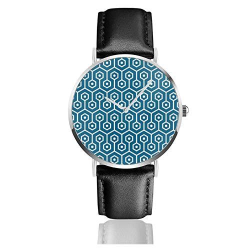 Reloj de cuero con diseño de panal de hexágono moderno con patrón de nido de abeja azul turquesa unisex clásico casual de moda reloj de cuarzo con correa de cuero