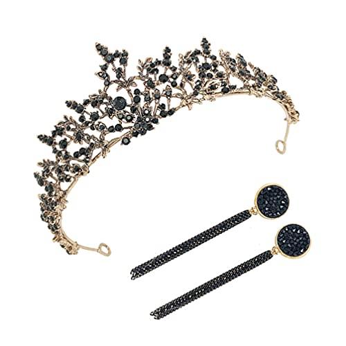 Minkissy Corona de Novia Barroca Reina Diamante de Imitación Rama Diseño con Pendiente Vintage Princesa Corona Nupcial Tiara Corona para Boda