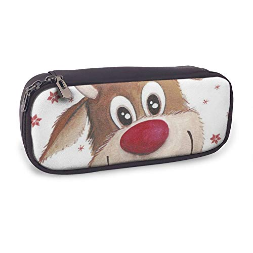 Pencil Case Cute Xmas Reindeer Big Capacity Leather Pencil Pouch Multifunction Stationery Pen Box Makeup Bag