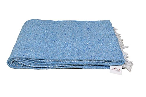 Open Road Goods Handmade Aqua Blue Yoga Blanket - Thick Mexican Blanket or Throw - Made for Yoga!