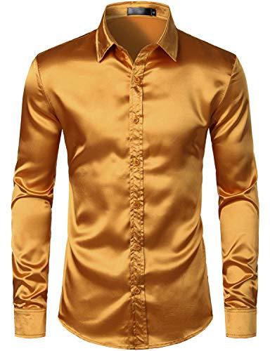 ZEROYAA Men's Luxury Shiny Silk Like Satin Button Up Dress Shirts ZLCL14-Gold X-Large