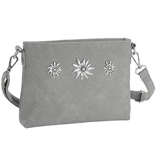 dressforfun 900651 Damen Trachten Handtasche mit Edelweiß Motiv, Schicke Trachtenhandtasche in Wildlederoptik (Grau | Nr. 303267)