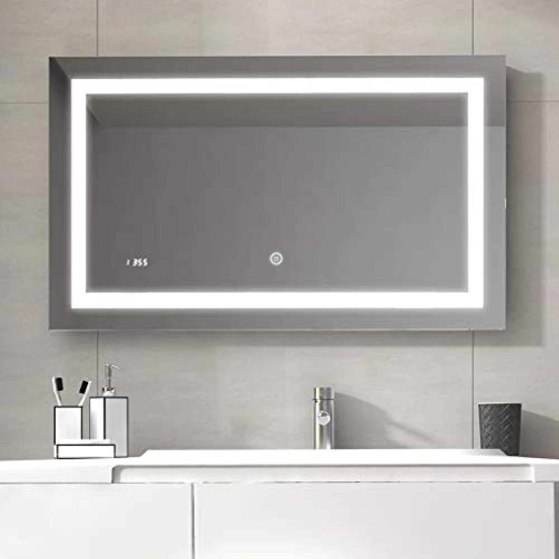 Duschdeluxe 100 x 60 x 4,5 cm Badspiegel Lichtspiegel mit Touchschalter, beschlagfrei und Digital Uhr  Touchschalter beschlagfrei LED Spiegel Wandspiegel mit Digital Uhr IP44 - Kaltwei