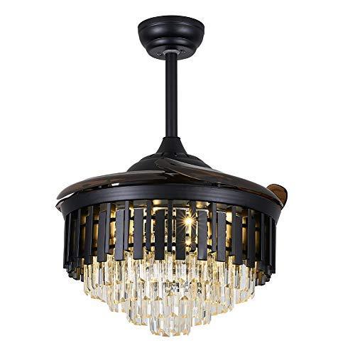 Ventilador de techo con iluminación y mando a distancia de cristal, aspas plegables, 100 cm, lámpara de techo para dormitorio, salón o comedor