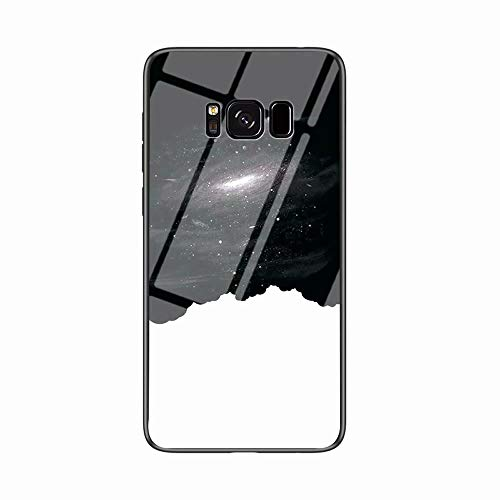 Miagon Galaxy S8 Plus Glas Handyhülle,Himmel Serie 9H Panzerglas Rückseite mit Weicher Silikon Rahmen Kratzresistent Bumper Hülle für Samsung Galaxy S8 Plus,Schwarz Weiß