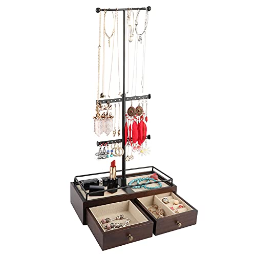Keebofly Jewelry Organizer Metal & Wood Basic Storage Box - 3 Tier Jewelry Stand for Necklaces Bracelet Earrings Ring Walnut