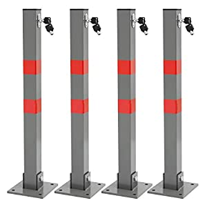 ECD-Germany-4-x-Bolardo-de-Aparcamiento-en-Acero-655-cm-de-Altura-Barrera-Entrada-Garaje-Poste-estacionamiento-Coche-bloqueable-de-Seguridad-Base-de-Montaje-Cuadrada-Llaves-Material-Montar