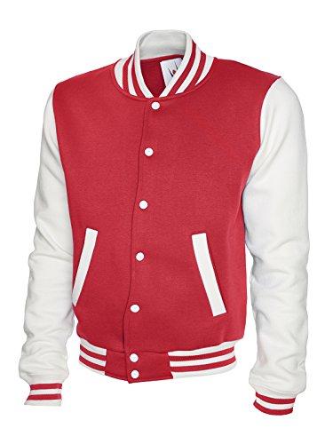 Uneek Hommes Letterman Baseball Université College Veste Sweatshirt - Rouge/Blanc, M