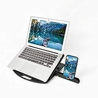 ラップトップスタンド、折りたたみ式ポータブルコンピューターラップトップマウント、垂直安定PCライザー、取り外し可能なマルチアングルデスクトップラップトップホルダー、携帯電話ホルダー付き、すべてのノート,黒