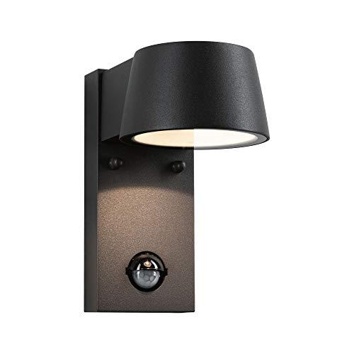 Paulmann 94453 LED Außenleuchte Außenwandleuchte Capea mit Bewegungsmelder IP44 Warmweiß incl. 1x6 Watt Außenbeleuchtung Schwarz Außenlampe Aluminium Gartenlampe 3000 K