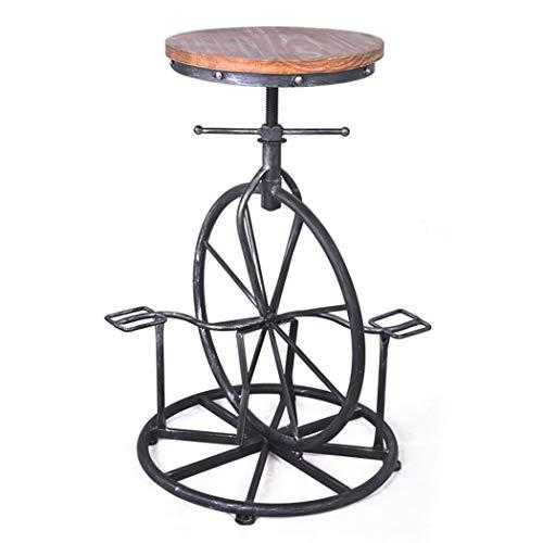 JQQJ barkruk, industrieel, in hoogte verstelbaar, fietszadel, creatief, industriële kruk 49-50x65-80cm Walnoot